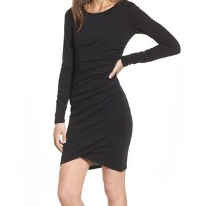 Leith Long sleeved ruched dress, black, large